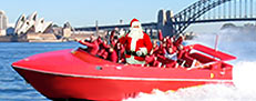 Santa jet boating on Sydney Harbour